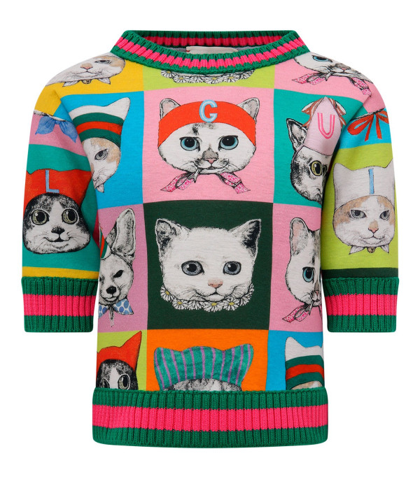 "GUCCI KIDS Multicolor girl sweatshirt with ""Gucci Pets"" print"