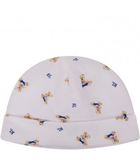 RALPH LAUREN KIDS White hat with Teddy bear