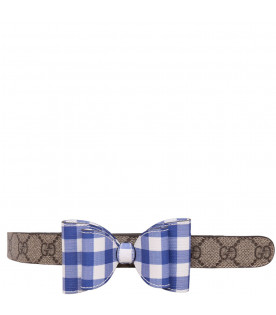 Beige belt with light blue and white bow