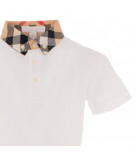 BURBERRY KIDS White William polo t-shirt