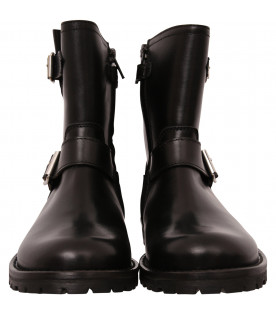 GALLUCCI KIDS Black boot with studs and buckles