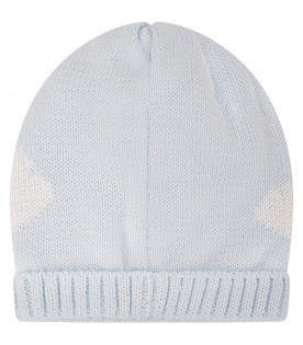 Light blue hat for baby boy with clouds