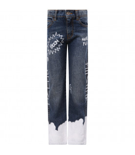 Blue jeans with white print