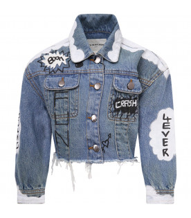 Light blue jacket with white print and patch