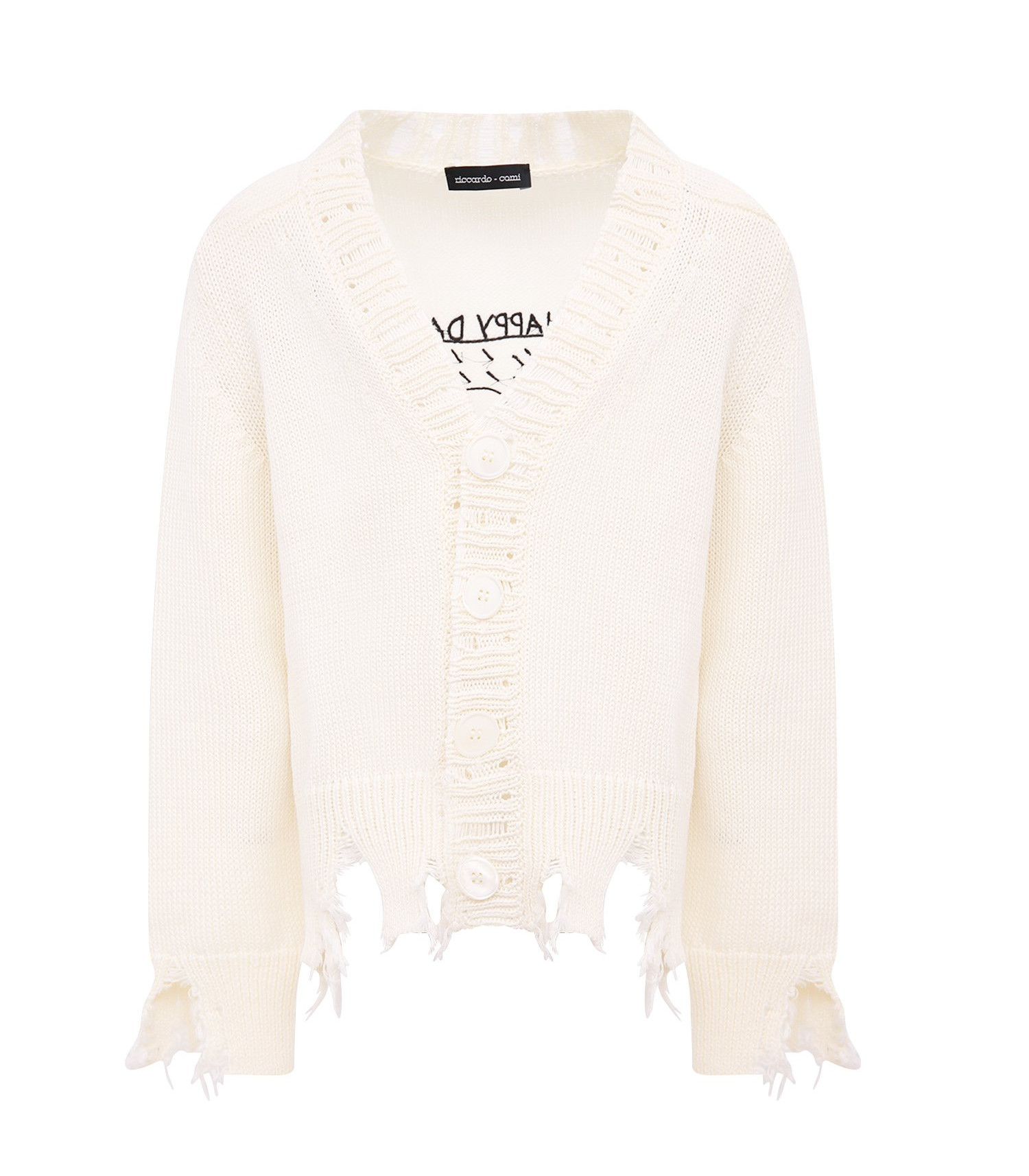 "Riccardo Comi Kids White ""happy day"" cardigan"