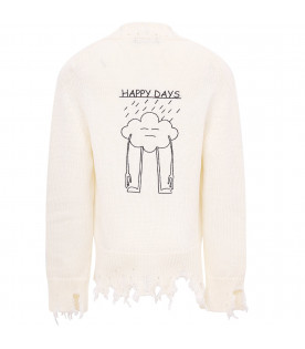 "White ""happy day"" cardigan"