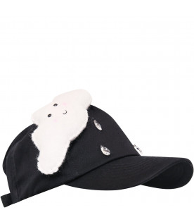 Black hat with white cloud