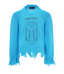 "Maglione celeste ""happy day"""