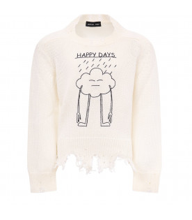 "White ""Happy day"" sweater"
