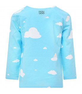 Light blue T-shirt with white clouds