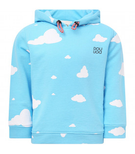 Light blue sweatshirt with white clouds