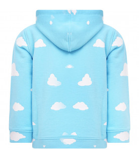 DOUUOD KIDS Light blue sweatshirt with white clouds