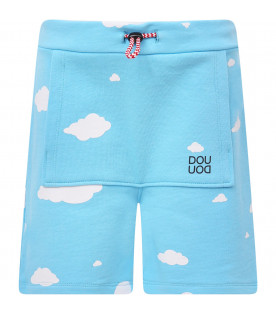 DOUUOD KIDS Light blue shirt with white clouds