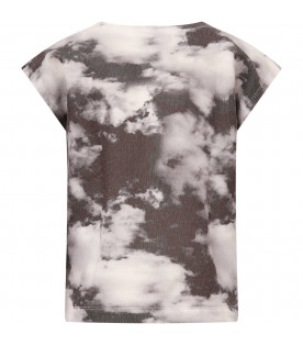 Black T-shirt with grey clouds