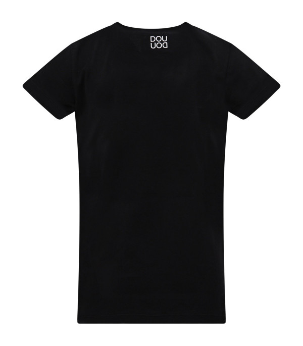 DOUUOD KIDS  Black T-shirt with white cloud