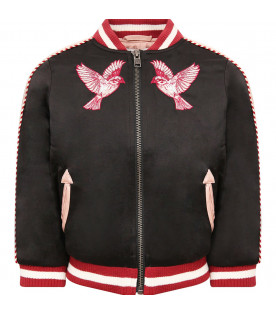 STELLA MCCARTNEY KIDS Bomber bambina nero con uccelli colorati