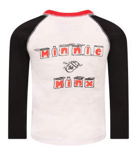 STELLA MCCARTNEY KIDS White girl T-shirt with colorful Minnie the minx printed