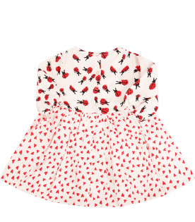 STELLA MCCARTNEY KIDS White dress with red ladybugs and hearts printed