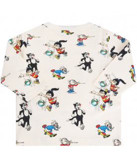 STELLA MCCARTNEY KIDS Ivory T-shirt with colorful all-over print
