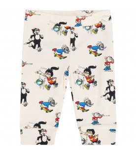 STELLA MCCARTNEY KIDS Ivory leggings with colorful all-over prints
