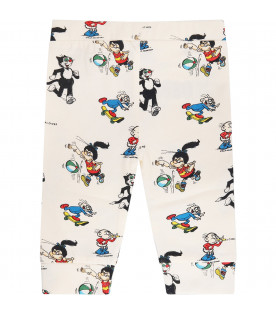 STELLA MCCARTNEY KIDS Leggings avorio con stampe colorate all-over