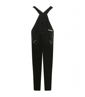 STELLA MCCARTNEY KIDS Black girl dungarees with colorful bird and stars