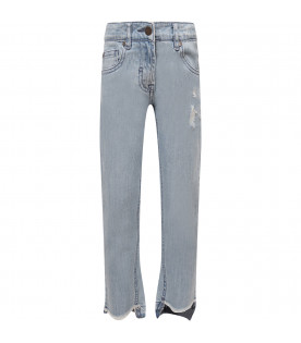 STELLA MCCARTNEY KIDS Jeans bambina celeste con patch