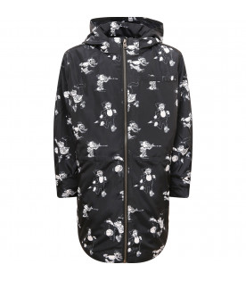 STELLA MCCARTNEY KIDS Parka bambino nero con stampa all-over