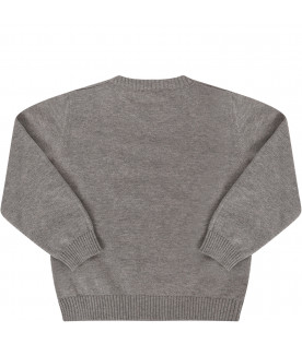 FENDI KIDS Grey sweater with black logo