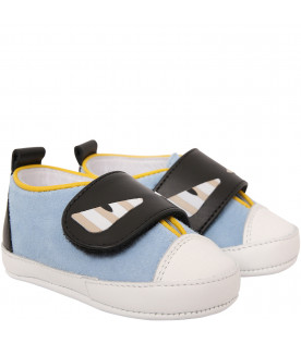 FENDI KIDS Light blue shoes with eyes