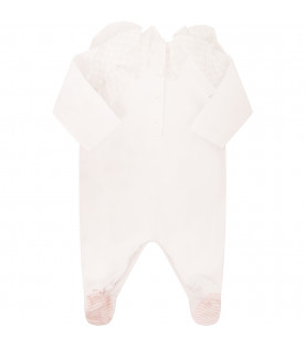 FENDI KIDS White babygrow with frills
