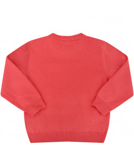 FENDI KIDS Coral red sweater with white logo