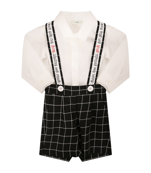 FENDI KIDS Black and white babygrow with straps