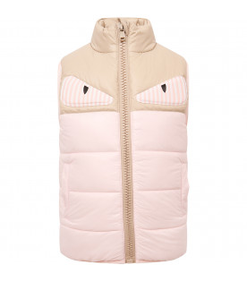 FENDI KIDS Gilet beige e rosa con patch