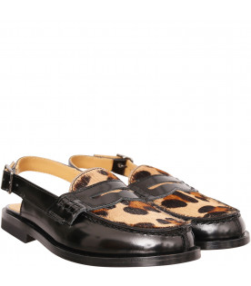 GALLUCCI KIDS Black sabot with animalier print