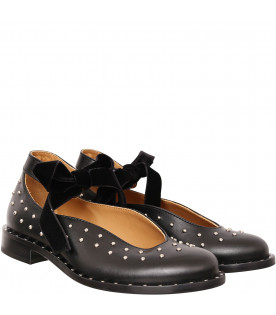 GALLUCCI KIDS Black ballerinas with studs