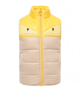 FENDI KIDS Beige and yellow boy vest with patches