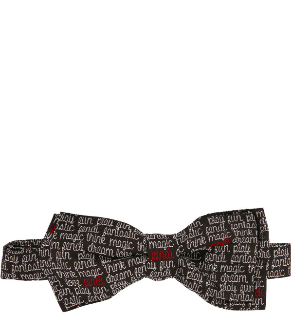 FENDI KIDS Black bow-tie with white logo