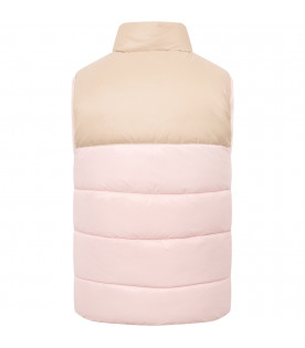 FENDI KIDS Beige and pink girl vest with patches