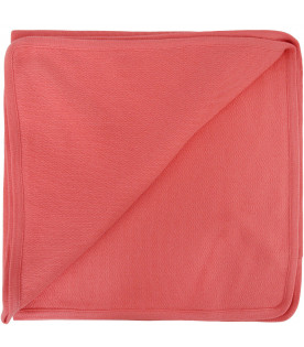 FENDI KIDS Coral red blanket with white logo