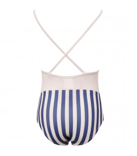 MUMOFSIX White girl swimsuit with blue striped