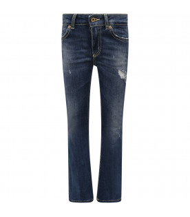 DONDUP KIDS Blue girl jeans with white written