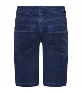 DONDUP KIDS Blue boy short with iconic logo