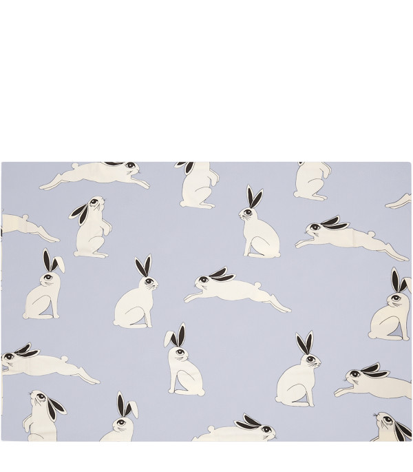 MINI RODINI Light blue pillowcase with rabbit