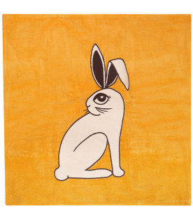 MINI RODINI Ocher cushion cover with rabbit