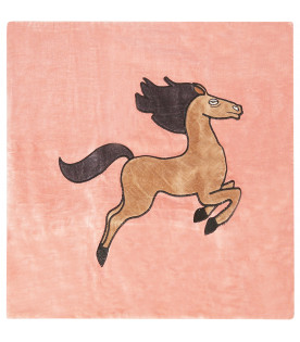 MINI RODINI Pink cushion cover with horse