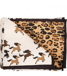 MINI RODINI Beige bedspread with brown horses
