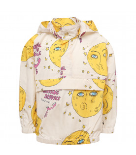 MINI RODINI Offwhite windbreaker jacket with yellow moons
