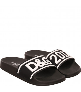Black sandals with logo