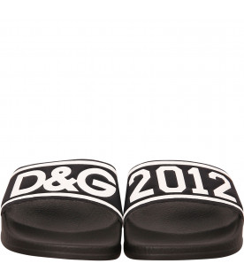 DOLCE & GABBANA KIDS Black sandals with logo